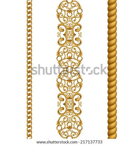vintage gold classical seamless borders set, illustration isolated on white background - stock photo