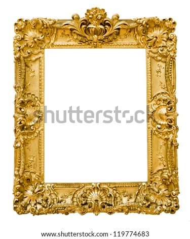 vintage gold frame, isolated on white - stock photo