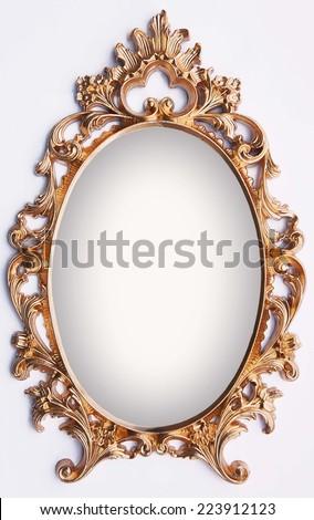 Vintage gold frame - magic mirror - stock photo