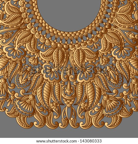 Vintage gold pattern for print, embroidery. Raster version. - stock photo
