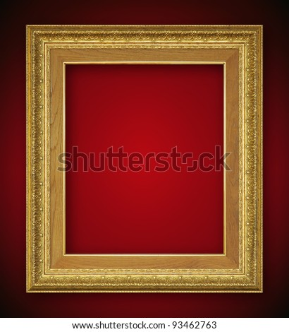 Vintage gold picture frame, isolated with clipping path - stock photo