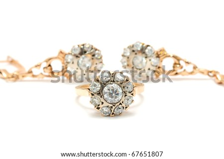 Vintage Gold Ring and Earrings with Diamonds - stock photo