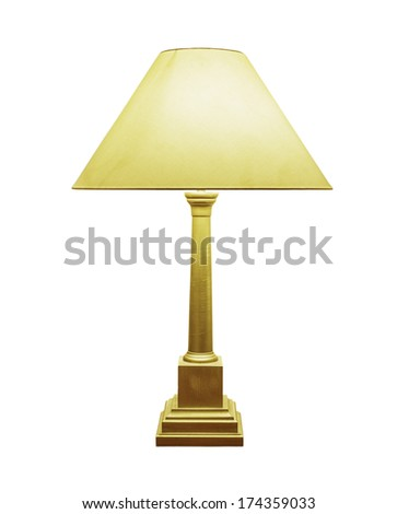 vintage gold table lamp isolated on white background  - stock photo