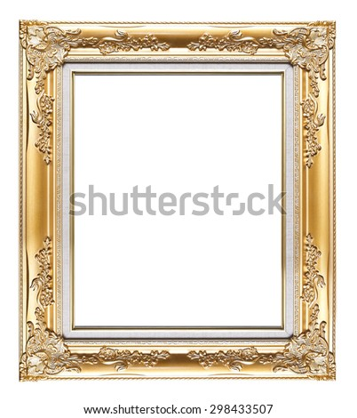 Vintage golden frame isolated on white - stock photo