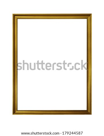 vintage golden frame isolated on white background with clipping path - stock photo