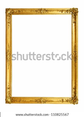 Vintage golden frame with blank space - stock photo
