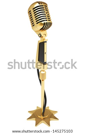 vintage golden microphone. isolated on white. - stock photo