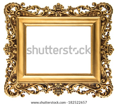 vintage golden picture frame isolated on white background. antique baroque style object  - stock photo