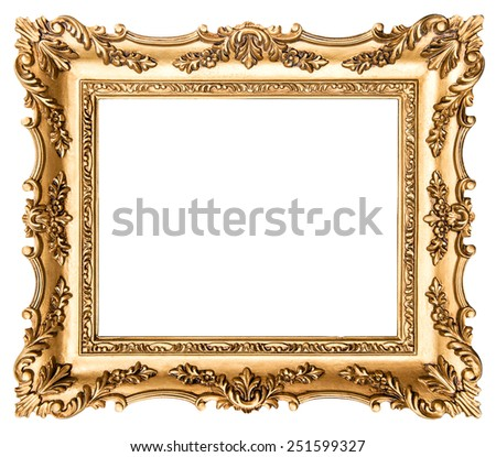 Vintage golden picture frame isolated on white background. Antique style object - stock photo