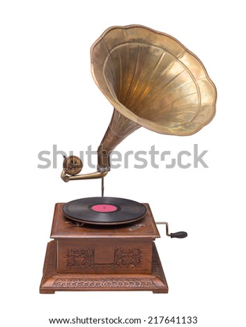vintage gramophone isolated. - stock photo