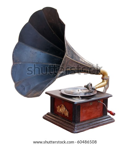 Vintage gramophone isolated. Clipping path included. - stock photo