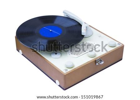 Vintage gramophone isolated on white background. - stock photo