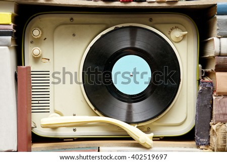 Vintage gramophone music record - stock photo