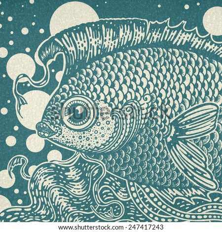 Vintage graphic fish in two colors - stock photo