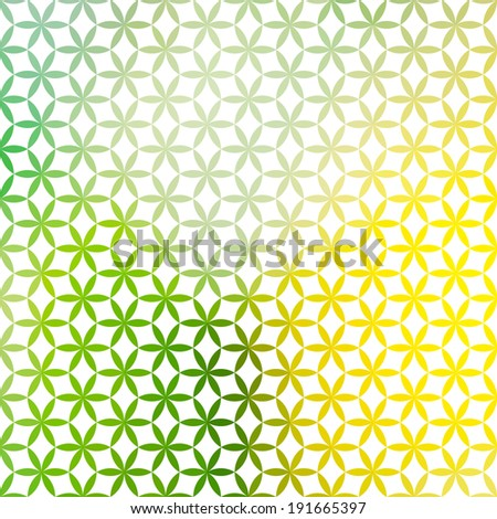 Vintage green and yellow minimalistic background with geometric floral ornament. Raster version - stock photo