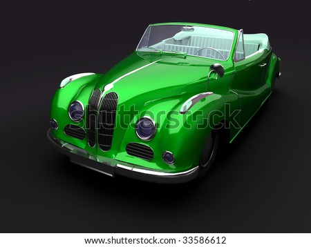 Vintage green car on dark background. For other views or colors of this car please check my portfolio. - stock photo