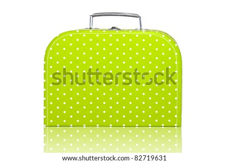 Vintage Green Polka Dot Lunch Box on white background - stock photo