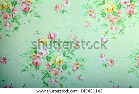 Vintage green victorian wallpaper with floral pattern - stock photo