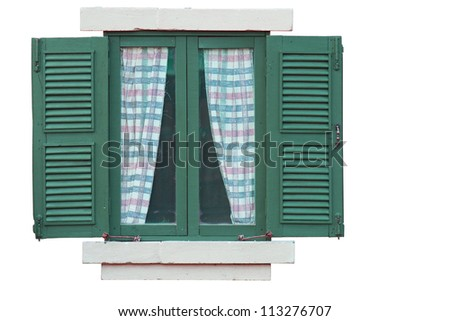 Vintage green window isolate on white background with clipping path. - stock photo