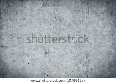 Vintage grey painted plaster concrete wall background. Dark edged - stock photo