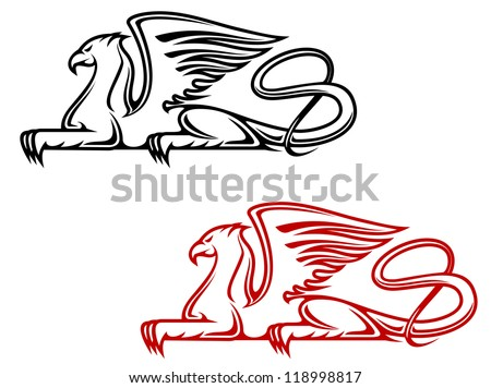Vintage griffin for heraldic or tattoo design, such a logo template. Vector version also available in gallery - stock photo