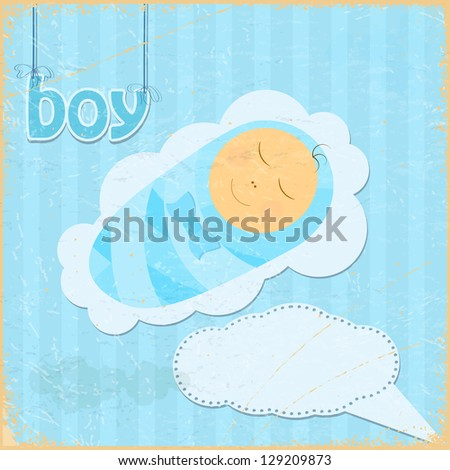 Vintage grunge background with the image of a little boy - stock photo