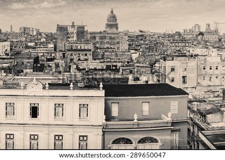 Vintage grunge monochromatic image of Old Havana - stock photo