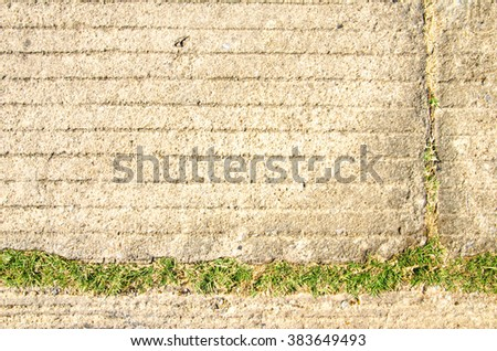 vintage grunge wall stone background or concrete texture and grass     - stock photo