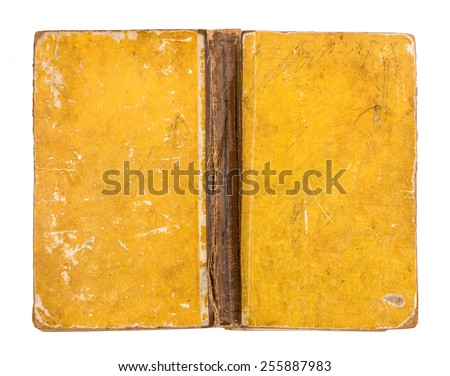 Vintage grungy yellow book cover isolated on white background - stock photo