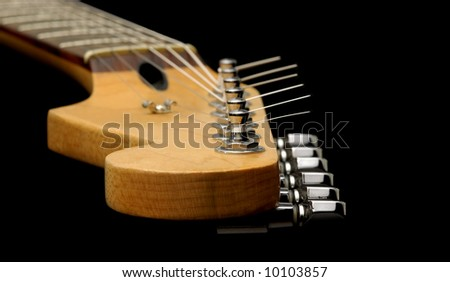 vintage guitar neck and strings close-up - stock photo