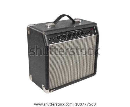 Vintage guitar practice amplifier isolated with clipping path. - stock photo