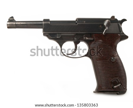 vintage gun isolated on white background - stock photo