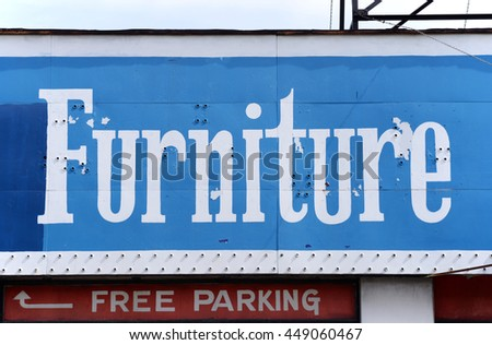 vintage hand-painted furniture sign - stock photo