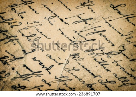 vintage handwriting. manuscript. grunge aged paper background with vignette - stock photo