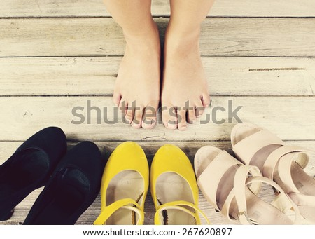 Vintage,High heel shoes - stock photo