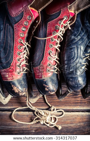 Vintage hockey skates - stock photo