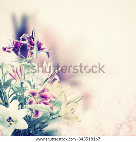 Vintage holiday background with lovely flowers - stock photo