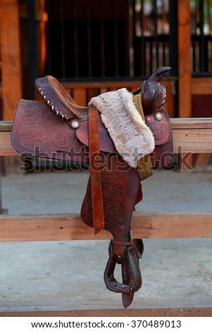 Vintage Horse Saddle - stock photo