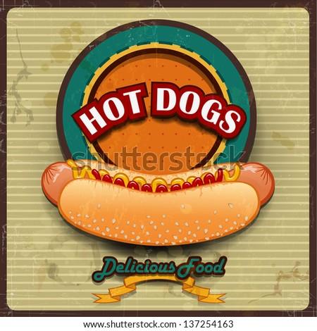 Vintage Hot dogs label vector illustration - stock photo
