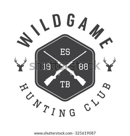 Vintage hunting label, logo or badge and design elements. - stock photo