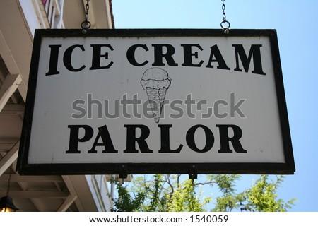 vintage ice cream parlor - stock photo