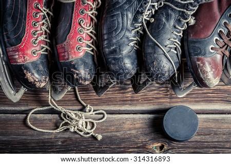 Vintage ice skating - stock photo