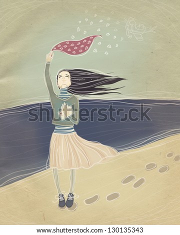 vintage illustration. long-awaited meeting. young girl meets a loved one with war. raster illustration. - stock photo
