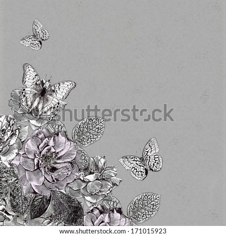 Vintage illustration of flowers and butterflies  - stock photo