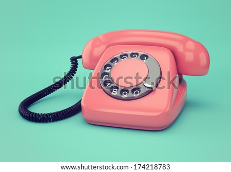Vintage illustration of pink retro rotary dial telephone on blue background - stock photo