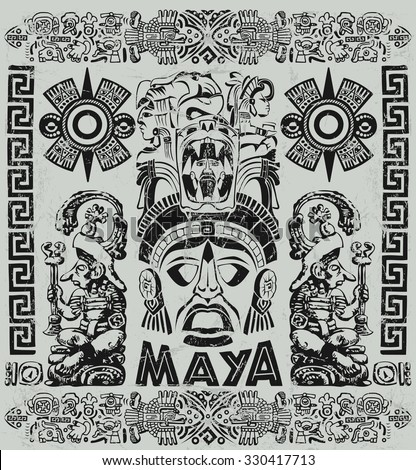 Vintage illustration with Mayan motifs  - stock photo