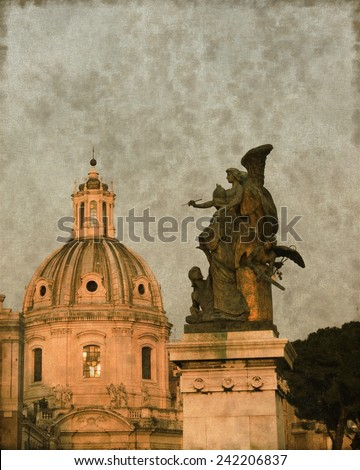 Vintage image of a Church dome and an angel in Rome, Italy - stock photo