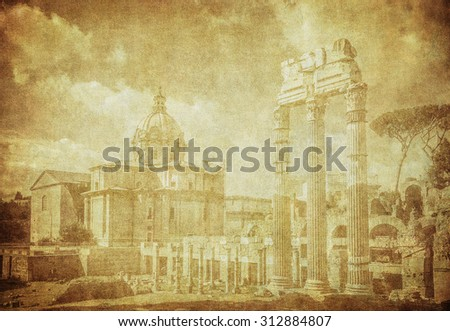 Vintage image of ancient roman forums in Rome, Italy - stock photo