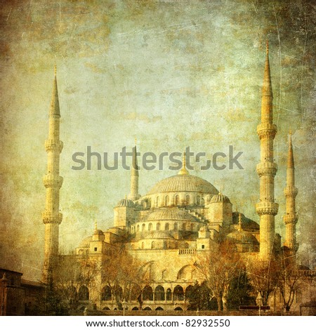 Vintage image of Blue Mosque, Istanbul - stock photo