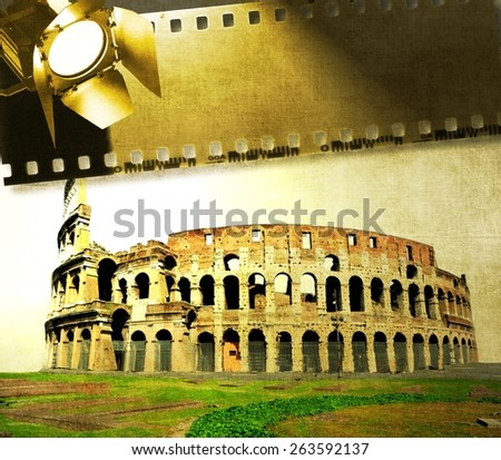 Vintage image of Colosseum with film strip and reflector - stock photo